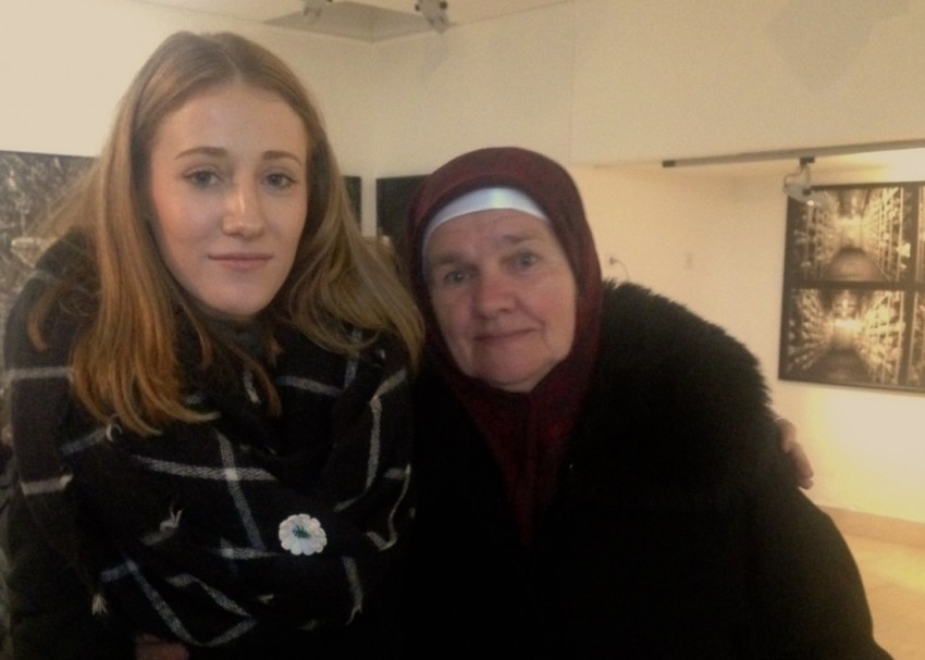 Izzie Shaw with one of the Mothers of Srebrenica