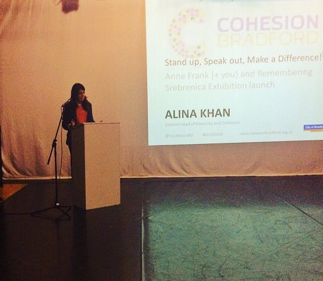 Alina Khan speaking at Susomad launch