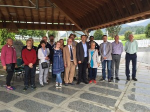 The delegation at Potocari Cemetery with Nedzad Avdic
