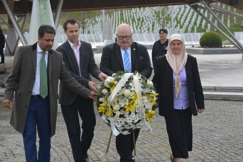 Sir Eric Pickles lays a wreath in Srebrenica